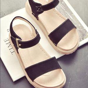 Black & Tan Ankle-Strap Sandal